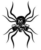 Gas mask stencil isolated over. Stock Photo