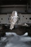 Gas mask on tow truck Stock Images