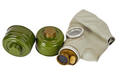Gas mask and two absorbers Royalty Free Stock Photography