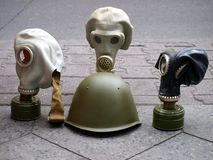 Gas masks. And stealing helmet from the 2nd world war Stock Photo