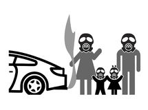 Gas masks against air pollution. Family wearing facemasks against harmful traffic fumes Royalty Free Stock Photography