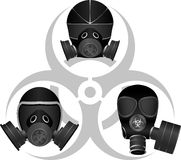 Gas masks and biohazard sign Royalty Free Stock Photos