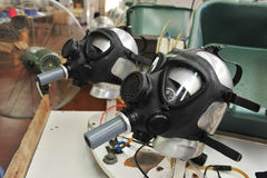 Gas masks factory Stock Image