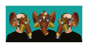 Gas masks - Steampunk brotherhood Royalty Free Stock Image