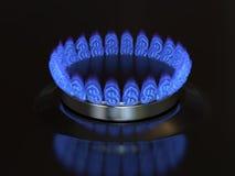 Gas med ett dollartecken bränner från kökugnen Royaltyfri Bild