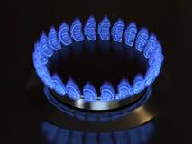 Gas med ett eurotecken bränner från kökugnen Royaltyfri Foto