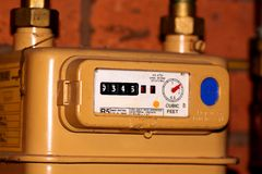 Gas meter. Photograph of a household gas meter stock image