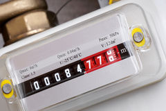Gas meter. Detail of the numbers on the gas meter Stock Image