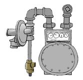 Gas Meter. This illustration that I created depicts a natural gas meter with fittings and regulator Stock Photography
