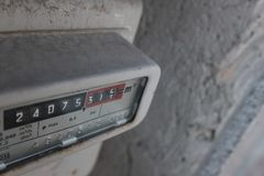 Gas meter in the box. Old stock image