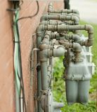 Gas meter pipes Royalty Free Stock Photography