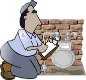 Gas Meter Reader. This illustration that I created depicts a man reading a natural gas meter Stock Image