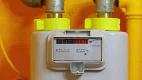 Gas Meter Turning. Gas meter in a home stock footage