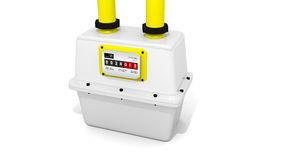 Gas meter. White gas meter with yellow tubes Stock Images