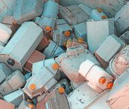 Gas meters in a landfill of hazardous material ready for recycli Stock Images