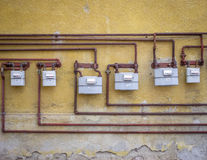 Gas meters. On an old building Royalty Free Stock Images