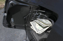 Gas money. Money sticking out of car's gasoline tank showing the rising cost of fuel Stock Images