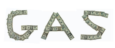 Gas and money. The word gas spelled out in 20 dollar bills Stock Image