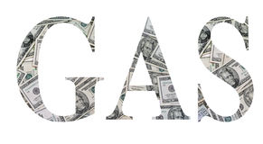 Gas money. The word gas spelled out in twenty dollar bills Royalty Free Stock Photo