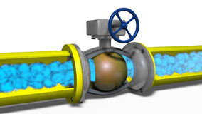 Gas movement on a gas pipeline. Model gas movement on a gas pipeline royalty free illustration