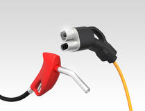 Gas nozzle and electric vehicle quick charger.  Royalty Free Stock Photo