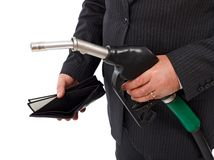 Gas nozzle and empty wallet royalty free stock photography