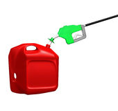 Gas nozzle in plastic can Stock Photography