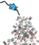 Gas nozzle with ruble banknotes Stock Images
