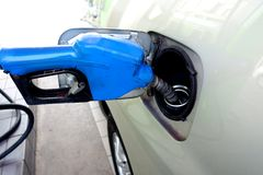 Gas nozzle. Is used to fill the car's fuel tank Royalty Free Stock Photos