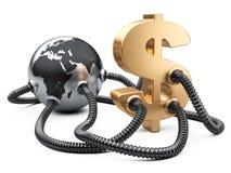 Gas och olje- rör som fästas till dollartecknet och planetjord Arkivbild