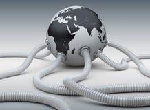 Gas och olje- rör som fästas till planetjorden Arkivfoton