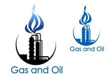 Gas- och oljeindustrisymbol stock illustrationer