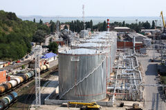 Gas & oil fuel storage tanks. Seen from above Stock Photography