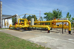 Gas and oil pipes. Transportation and measuring of gas and oil through pipes Stock Photos