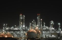 Gas and oil refinery plant. Or petrochemical plant with night time Royalty Free Stock Images