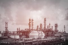 Gas and oil refinery plant. With vintage effect Royalty Free Stock Photo