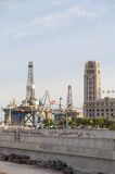 Gas and oil rig platform in the port of Tenerife Stock Photo