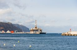 Gas and oil rig platform in the port of Tenerife. Spain Royalty Free Stock Photography