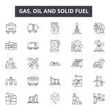 Gas, oil and solid fuel line icons, signs, vector set, linear concept, outline illustration. Gas, oil and solid fuel line icons, signs, vector set, outline stock illustration