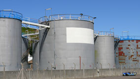 Gas and Oil storage depot. Some of the storage tanks at a fuel storage depot Royalty Free Stock Photography