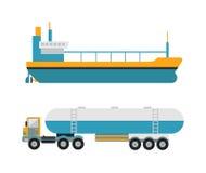 Gas oil transportation van vector. Gas oil petroleum transportation tank car tanker concept vector. Petroleum collection gas oil transportation van. Tanker Royalty Free Stock Photography