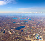 Gas or oilfield in tundra, top view Stock Photography