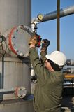 Gas operator. Gas and oil production operator maintains Royalty Free Stock Photography