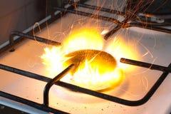 Gas peligroso de la estufa Imagen de archivo libre de regalías