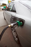 Gas petrol filling station. The modern car at gas /petrol filling up station, silver car Stock Image