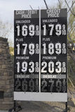 Gas petrol prices continue to drop in Scottsdale, Arizona,USA - Jan,2015 Royalty Free Stock Images