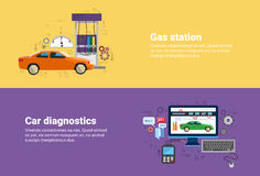 Gas Petrol Station, Car Computer Diagnostics Service Auto Mechanics Business Web Banner. Flat Vector Illustration stock illustration