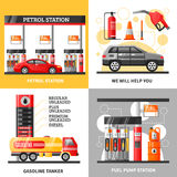 Gas And Petrol Station 2x2 Design Concept Royalty Free Stock Photo