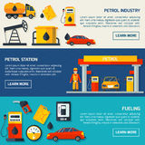 Gas petrol station flat banners set. Gasoline petrol fuel and motor oil station flat banners set with service facilities abstract isolated vector illustration Royalty Free Stock Photo