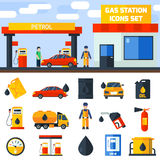 Gas petrol station icons collection banner Stock Photo